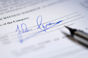 signing contracts and permit applications